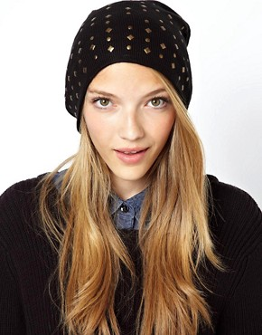 Image 1 ofASOS Mixed Stud Boyfriend Beanie