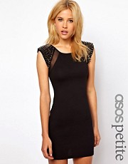 ASOS PETITE Exclusive Mini Dress With Mesh Insert And Studded Shoulder