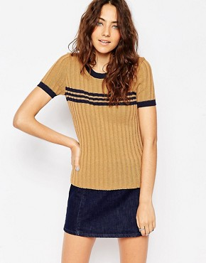 ASOS Knitted Tee In Rib With Stripes