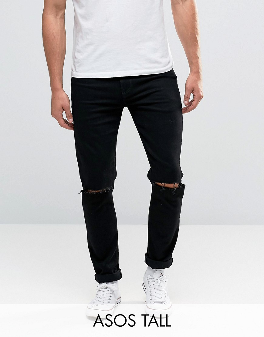 ASOS TALL Skinny Jeans With Knee Rips - Black