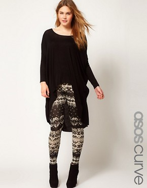 Image 1 of ASOS CURVE Exclusive Leggings in Cable Knit Print