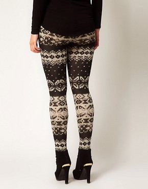 Image 2 ofASOS CURVE Exclusive Leggings in Cable Knit Print