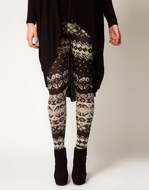 Image 4 of ASOS CURVE Exclusive Leggings in Cable Knit Print
