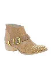 Bertie Pendy Taupe Studded Ankle Boots