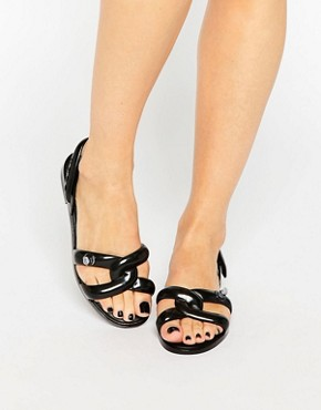 Melissa + Jeremy Scott Tube Black Flat Sandals