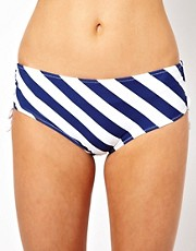 Marie Meili  Marineblau gestreifte Bikinihose mit niedrigem Bund