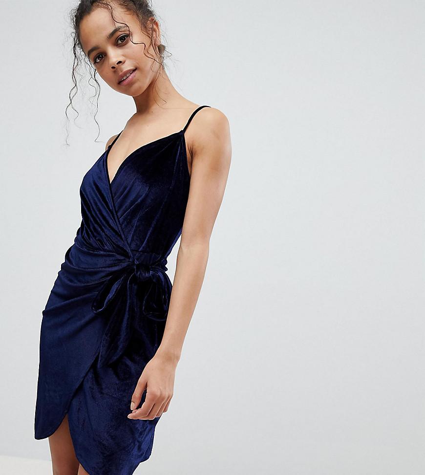 Parisian Petite Velvet Cami Wrap Dress With Tie - Navy
