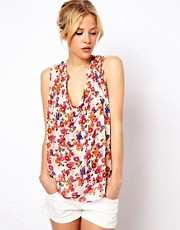 ASOS Sleeveless Blouse With Drape Front In Flower Power Print