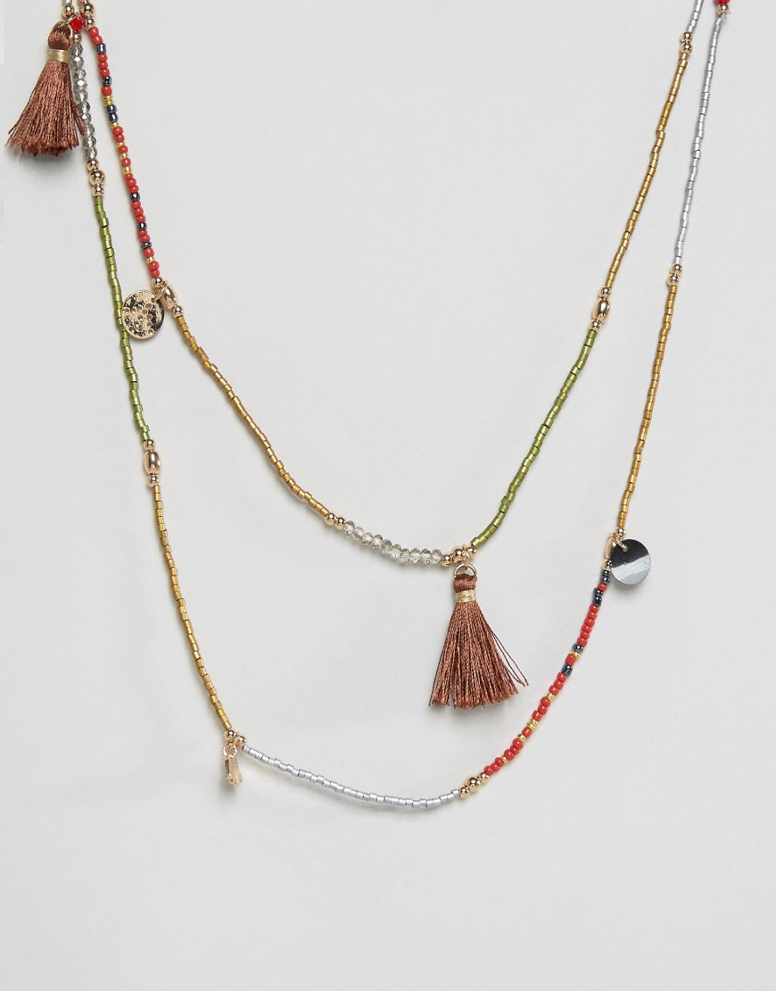 Nylon Festival Layered Tassel Necklace - Gray