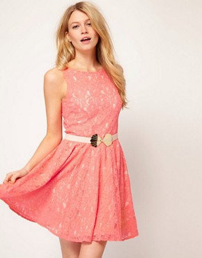 Image 1 ofOasis Lace Fit And Flare Dress
