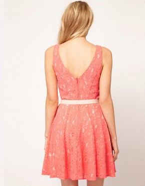 Image 2 ofOasis Lace Fit And Flare Dress
