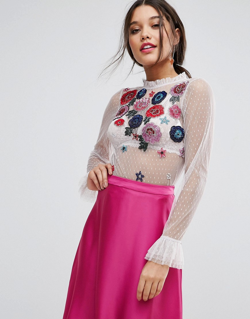 ASOS Top In Mesh With Floral Embroidery - Mauve