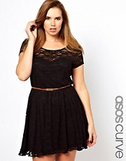 ASOS CURVE Lace Skater Dress With Belt