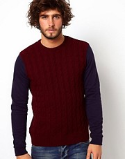 ASOS Cable Jumper with Jersey Arms