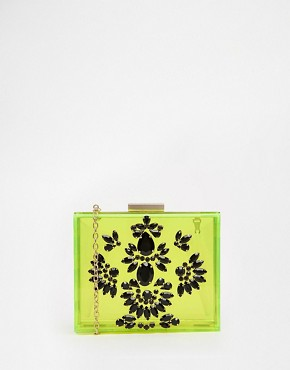 Skinnydip Occasion Embellished Neon Box Clutch in Yellow