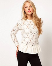ASOS - Top peplo in pizzo pesante