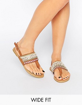 New Look Wide Fit Beaded Flat Sandals