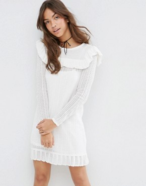 ASOS Dress in Pointelle Stitch with Ruffle Detail