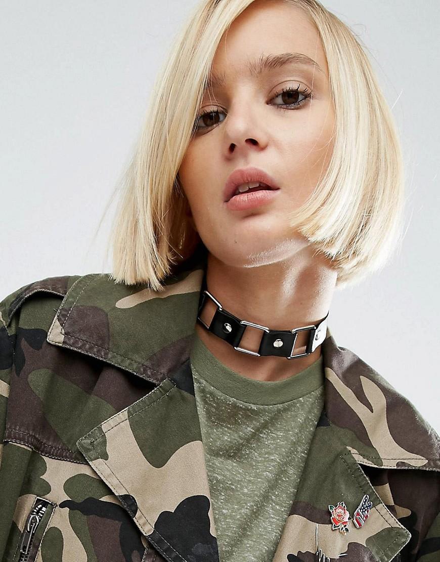 ASOS - Halsband aus quadratischen Metallelementen - Schwarz - Farbe:Schwarz