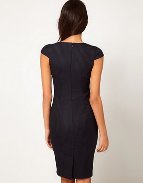 Image 2 ofASOS PETITE Exclusive Sexy Pencil Dress In Pinstripe
