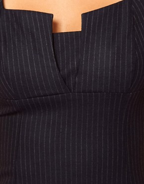 Image 3 ofASOS PETITE Exclusive Sexy Pencil Dress In Pinstripe