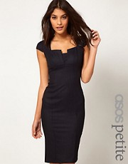 ASOS PETITE Exclusive Sexy Pencil Dress In Pinstripe