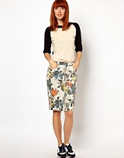 WoodWood Gladys Denim Pencil Skirt in 90s Floral