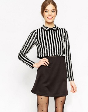 ASOS Sequin Stripe Crop Top Mini Dress