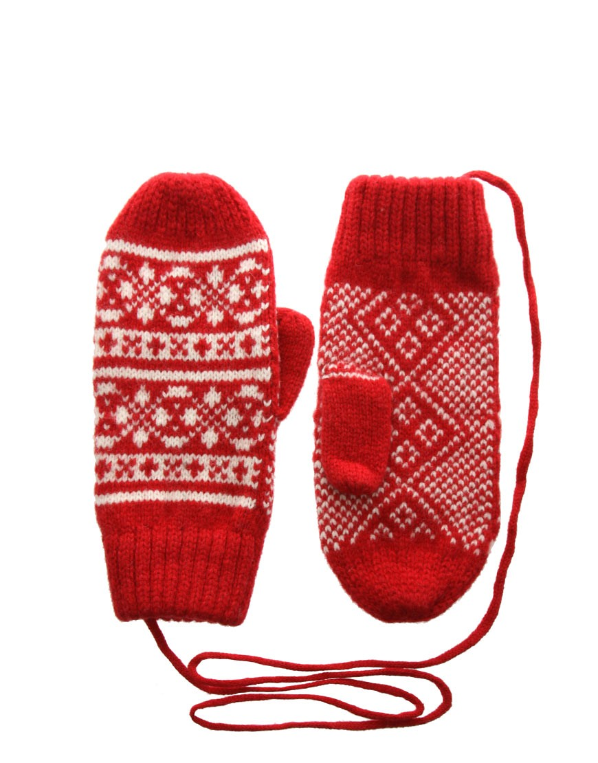 Image 1 of ASOS Wool Fairisle Mitten With Detachable String