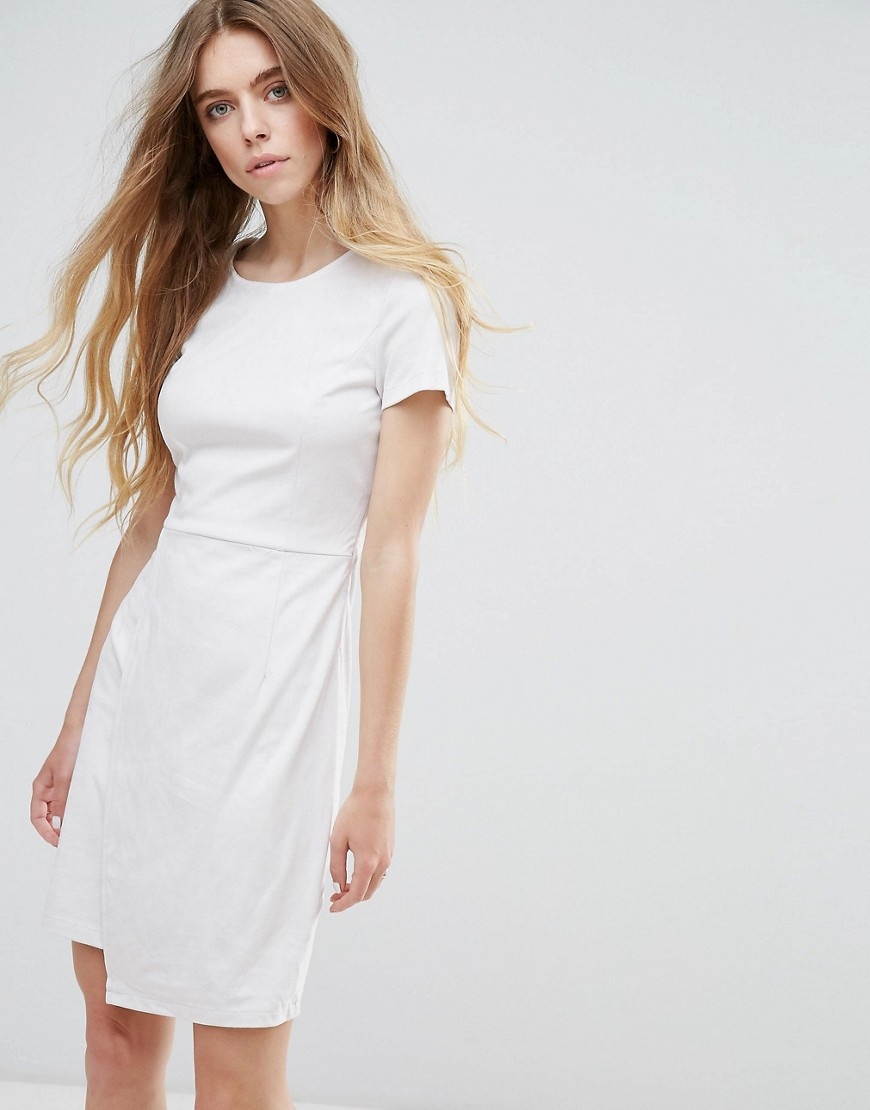 Vila Faux Suede Festival Wrap Dress - Cream
