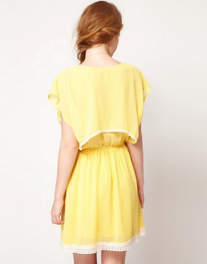 Image 2 ofDahlia Chiffon Cape Dress With Lace Trim