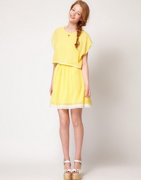 Image 4 ofDahlia Chiffon Cape Dress With Lace Trim