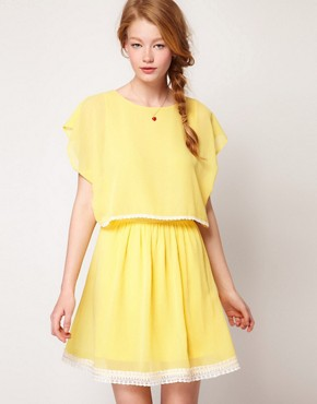 Image 1 ofDahlia Chiffon Cape Dress With Lace Trim