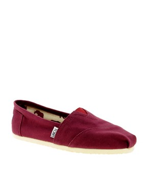 Image 1 ofTOMS Classic Canvas Burgundy Flat Shoes