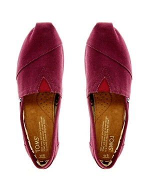 Image 3 ofTOMS Classic Canvas Burgundy Flat Shoes