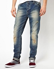 ASOS - Jeans slim fit con strappi e lavaggio effetto autentico