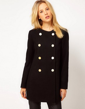 Image 1 of Mango Kate Collarless Military Coat