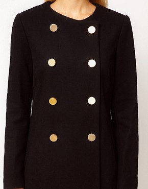 Image 3 of Mango Kate Collarless Military Coat