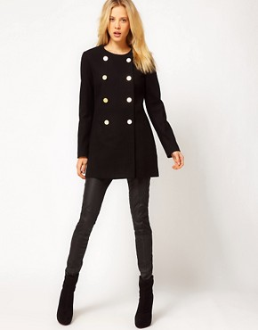Image 4 of Mango Kate Collarless Military Coat