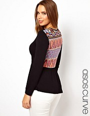 ASOS CURVE Exclusive Peplum Top With Printed Back