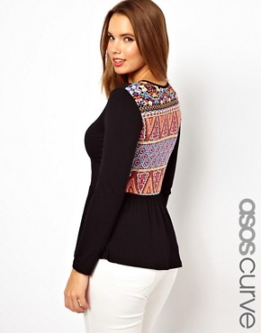 Image 1 ofASOS CURVE Exclusive Peplum Top With Printed Back