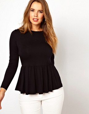 Image 2 ofASOS CURVE Exclusive Peplum Top With Printed Back
