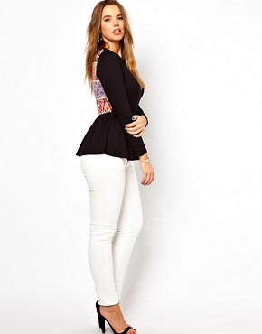 Image 4 ofASOS CURVE Exclusive Peplum Top With Printed Back