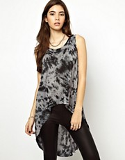 ASOS Top in Tie Dye with Skeleton Trapeze Back