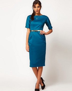 Image 4 ofASOS PETITE Pencil Dress In Wiggle Shape