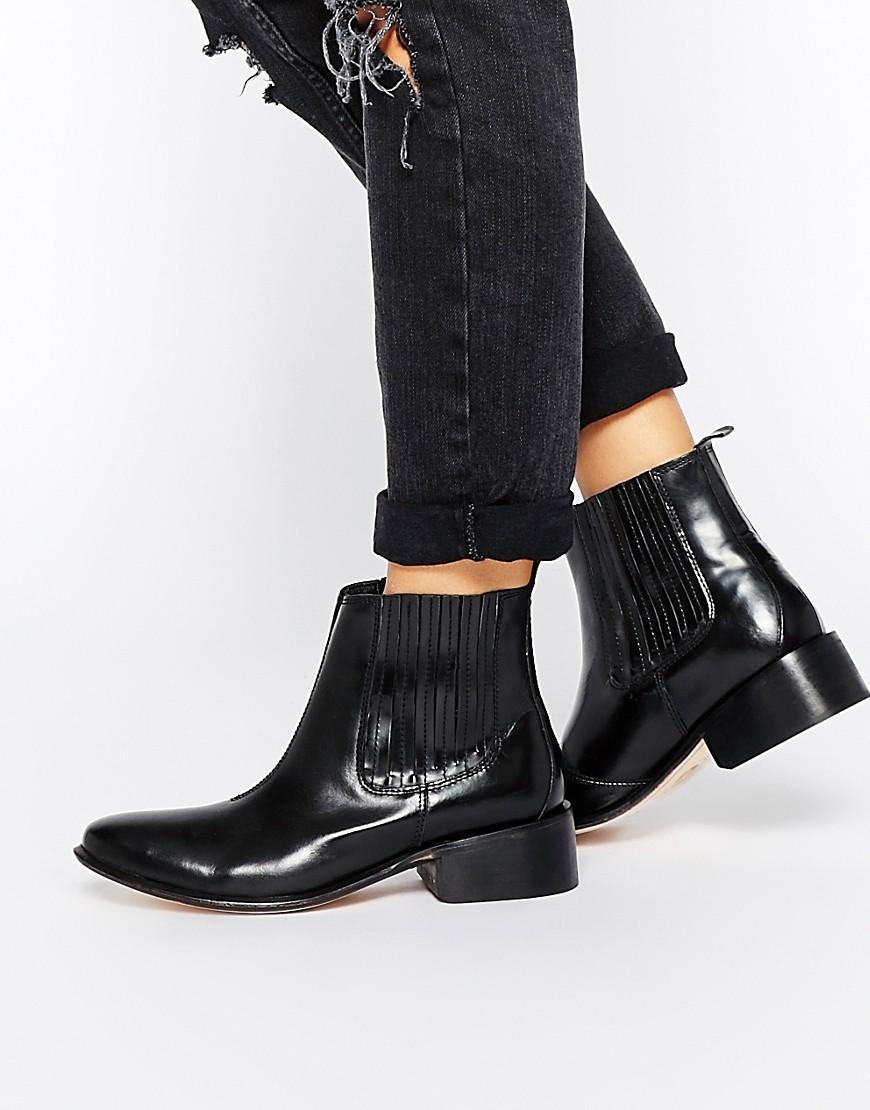 hudson london h by hudson behn leather chelsea boots at asos. Black Bedroom Furniture Sets. Home Design Ideas
