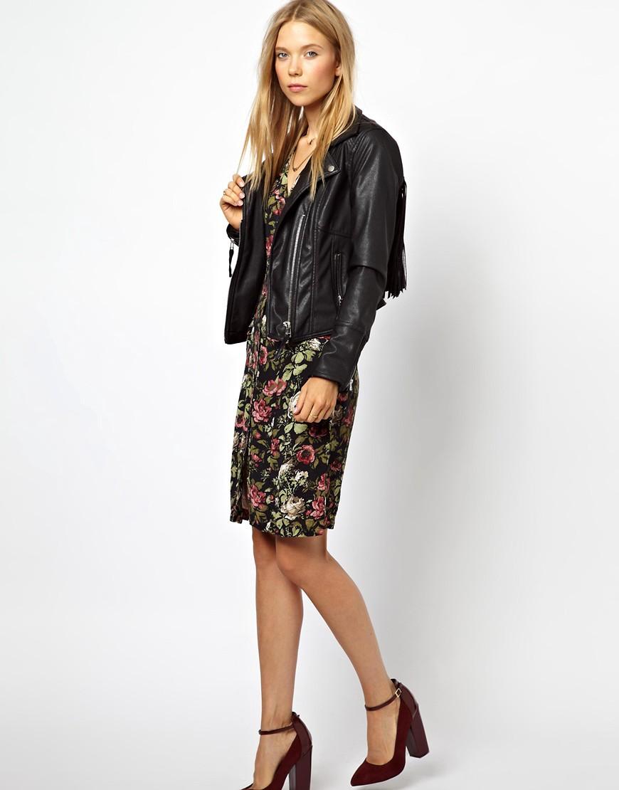 Image 4 ofGanni Black Rose Print Fitted Dress