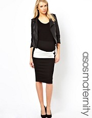 ASOS Maternity Colour Block Pencil Skirt with PU Panel