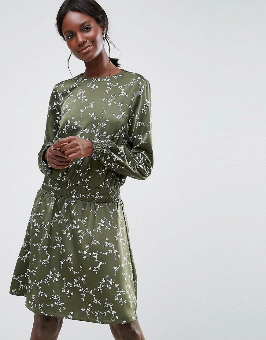 Y.A.S Elasticated Waist Skater Dress - Green