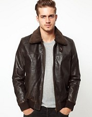 ASOS Leather Pilot Jacket With Removable Borg Collar